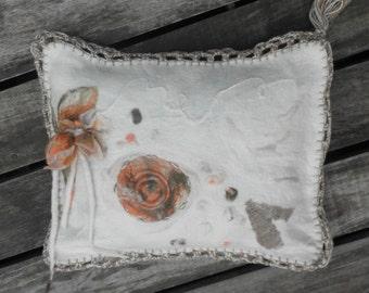 handmade felted pillowcase merino wool