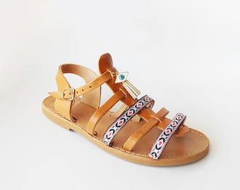 Bohemian Sandals , Boho Sandals , Gladiator Sandals , Slingback Sandals , Greek Sandals , Leather Sandals ,Strappy Sandals, Evil Eye Sandals