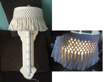 Hollywood Regency sconce wall lamp thick faux bamboo macrame fringe shade wall light fixture torchiere cast aluminum demi lune shade