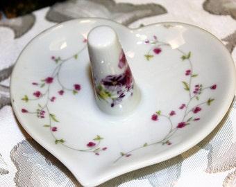 Porcelain Ring Dish, Heart Ring Holder Vintage