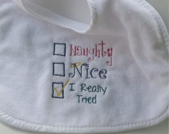 Terry Cloth Bib - Christmas, Naughty, Nice - Velcro closure - Super absorbant