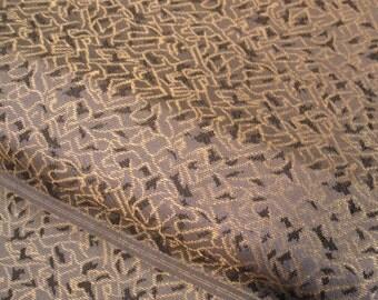 Vintage Easy Wear 2-Piece Japanese Tsuke Obi Sash for Kimono - Taupe / Gold Textured Weave.
