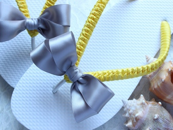 Yellow and Silver wedding shoes Gray and Yellow flip flops