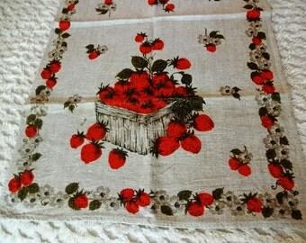 Vintage Linen Tea Kitchen Towel Strawberries