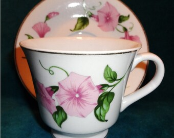 Vintage Teacup and Saucer Morning Glory