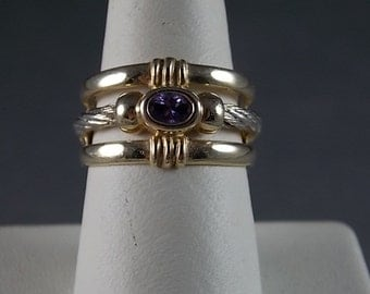RESERVED on layaway Amethyst Cigar Band Ring .20Ct  12.8mm wide.YG WG 14K 8.5gm size 7.5 Wedding Feb Birthstone