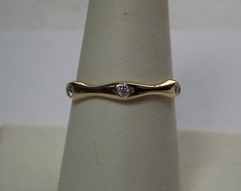 Diamond Band Bamboo Design .09Ctw Yellow Gold 14K 3gm Size 7.75 Simple Elegance