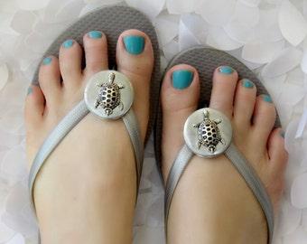 Sea Turtle, Flip Flops,  Wrap Clips, Flexible Removable Versatile Shoe Clips, Sandal Clips, Scarf Accessory, Boot Strap Accessory