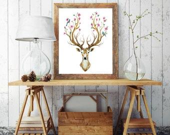 Forest Stag Print, Deer Print, Buck Print, Instant Digital Print, Print Download, Digital Print, 8x10 Digital Print, INSTANT DOWNLOAD