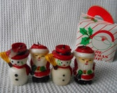 Santa Claus Snowmen Holiday Candles  Boxed Vintage Decorations Father Christmas