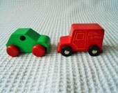 2 wooden Car Royal Mail Van Toys Childrens Vintage push along Brightly Colored