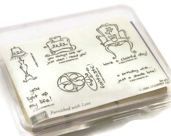 Stampin Up Stamps - Furnished With Love - Rubber Stamp Set - Cardmaking Stamps - Captioned Stamps - Funny Rubber Stamps - DIY Gift For Mom
