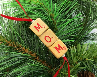MOM Christmas Ornament - Scrabble RSVP Cube Ornament, Stocking Stuffer, Package Tie-On, Gift for Mom