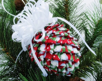 Fabric Pinecone Ornament - Snowmen on Red Fabric with White Bow - Christmas Ornament, Stocking Stuffer, Co-Worker Gift