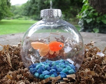 Fish Bowl Ornament - Goldfish with Blue Stones - Christmas Ornament, Co-Worker Gift, Ornament Exchange Gift