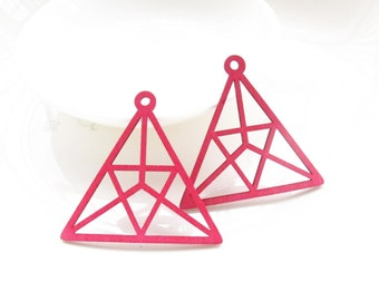 Dyeing Series - 49x 46mm Variety of Colors Filigree Triangle Wood Dangle/ Wooden Charm/Pendant NM172
