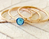 3 Hammered Gold Stacking Rings - Gold Fill and Blue Topaz Swarovski Crystal - Birthday - December Birthstone - Gift For Her