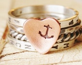 You Are My Anchor - Tiny Text Hand Stamped Personalized Stacking Rings - Sterling Silver and Copper Heart - Nautical Jewelry - Navy