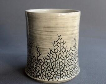 Ceramic Cup - Black Sea Fan - Tumbler - Carved - Stoneware - Handmade