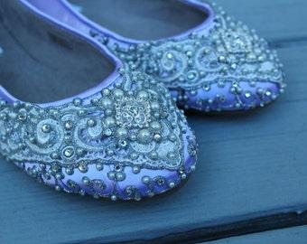 SALE - Size 7 Lilac Marrakesh Lace Bridal Ballet Flats