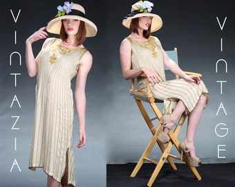 Vintage Gold Beaded Sequin Gatsby Flapper Dress