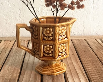 Vintage Yellow Enesco Pitcher Vase