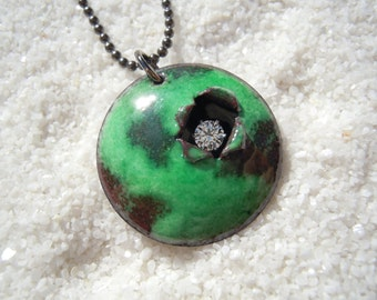 Green Weathered Necklace Artisan Jewelry