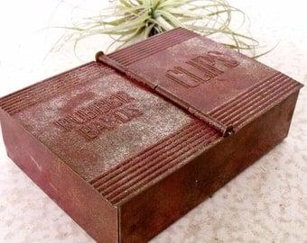 Metal Desktop Organizer Paper Clip / Rubber Band Storage Tin Box Vintage