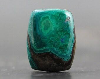 16mm Chrysocolla & Malachite Gemstone Cabochon, Amazing Jewelry OOAK Custom Made Natural Pendants, Rings (CA5790)