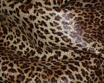 """Leather 8""""x10"""" SAND / TAN Leopard Print soft Grain Cowhide (NOT hair on) 2.5-3 oz / 1-1.2 mm PeggySueAlso™ E2550-05 Limited"""