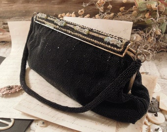 Vintage / Antique Black Glass Beaded Handbag Purse / Blue Beaded Details / Made in France / C M Caron