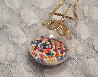 Nonpareil sprinkle glass orb pendant