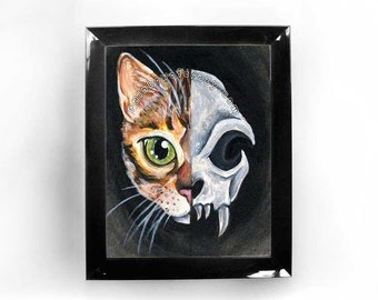 Bengal Cat Skull Art, Any Print Size, Faux Taxidermy, Large Wall Art, Green Eyes, Orange Tabby Cat, Pet Portrait Gift, Gothic Decor