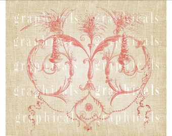 Valentine Pink arabesque heart Instant clip art Digital download image for iron on fabric transfer burlap decoupage paper pillow No. 1811