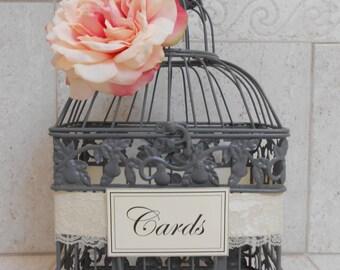 Small Gray Wedding Birdcage Card Holder / Wedding Card Box / Wedding Decor / Wedding Birdcage / Pink and Gray Wedding Decor