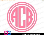 "30% OFF - Circle Monogram Vinyl Decal Sticker - 3 Initials - FREE SHIPPING - 2"" 3"" 4"" 5"" 6"" 7"" 8"" 9"" 10"" 11"" - C3W1"