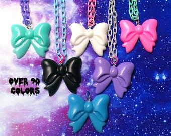 Pastel Goth Bow Necklace, Fairy Kei, Kawaii, Lolita