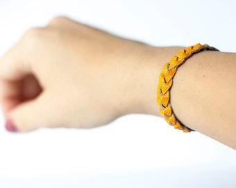 Braided Leather Bracelet / Creamsicle