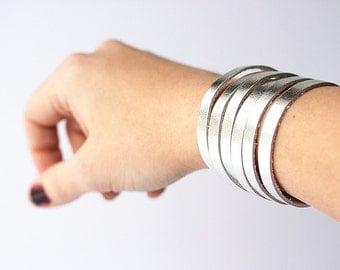 Leather Bracelet / Original Sliced Cuff / Metallic Silver