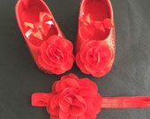 Baby Girl red glitter shoes and headband set, Christmas Shoes, sparkle shoes red glitter shoes, baby shoes, baby glitter shoes