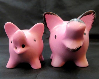 SALE! Mid Century Piggies, Goebel Germany Pair of Cute Pink Ceramic Pigs Figurines Germany 1960s
