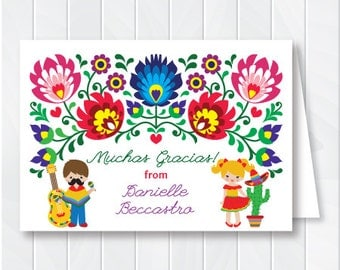 Kids Cinco de Mayo Stationery, Children Fiesta Thank You Cards, Mexican Flowers Notes, Mexican Fiesta Thank You, Printable Thank You Card