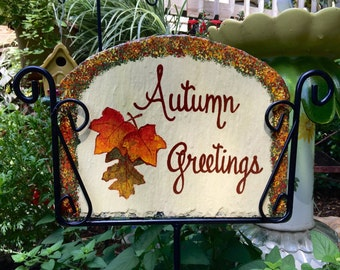 Fall Autumn Oak Leaves Slate Welcome Sign Hand Painted Personalized Garden Yard Art Recycled Repurposed Slate