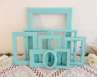 Mint Light Blue Green Frame Set Rustic Shabby Chic Distressed Picture Photo Gallery Collection Beach Cottage Home Decor Summer Wedding Gift