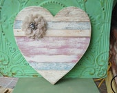 Shabby Chic Heart Wall Hanger, Large Wooden Home Decor Heart, Heart Wall Hanger