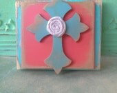 Coral and Aqua Cross Hanger, Small Gallery Wall Signs, Cross Accent Sign, Shabby Chic Cross Decor