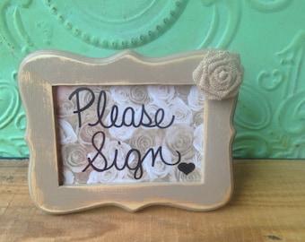 Shabby Chic Please Sign Framed Wedding Sign, Distressed Khaki Please Sign, Framed Wedding Sign, Home Decor Sign