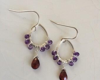 Amethyst & Garnet Solid Sterling Silver Drop/Pear Shaped Hoop Dangle Earrings