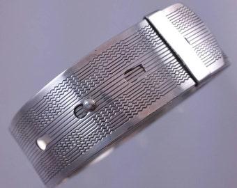 Vintage Sterling Silver Slide Buckle Bracelet with Engine Turned Engraving and Adjustable Size Slide Closure