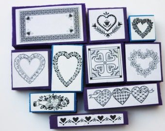 Hearts and Flowers rubber stamp set of 10  Foam mounted